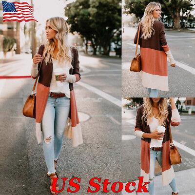 US Women Long Sleeve Knitted Plus Splice Cardigan Sweater Outwear Coat Jacket