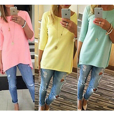 $2.51 - Fashion Womens Loose Pullover T Shirt Long Sleeve Cotton Tops Blouse Mini Dress