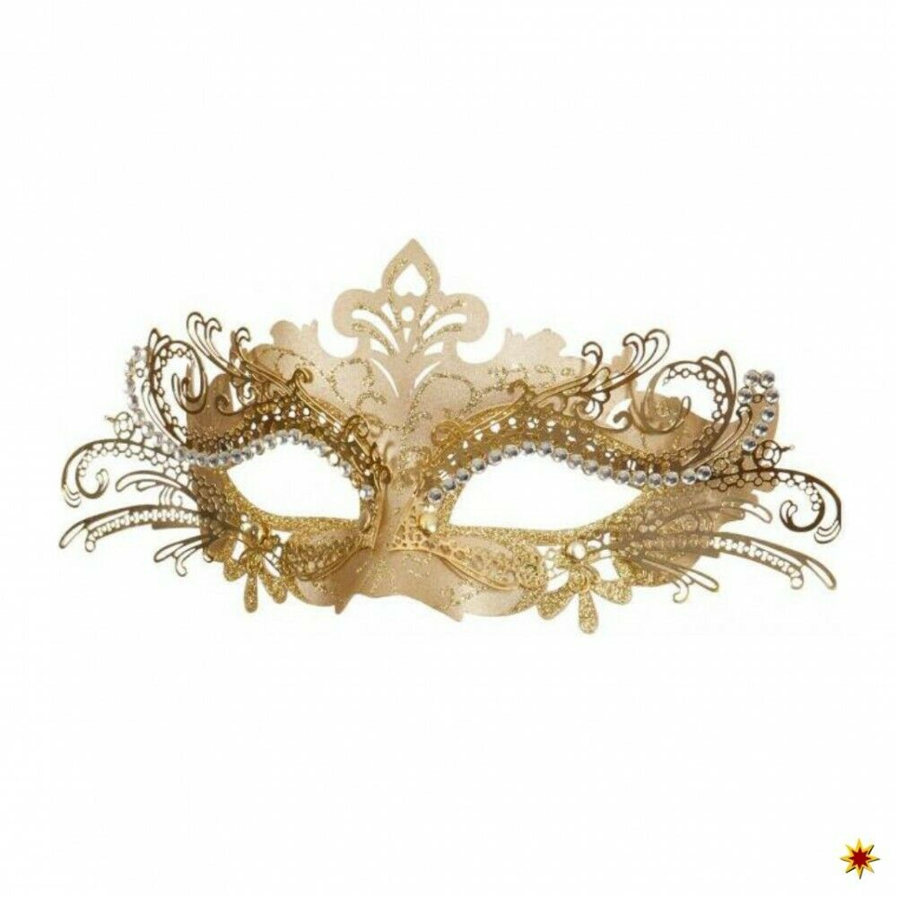 Metall-Maske filigran gold Augenmaske Venedig Kostüm Maskenball Barock
