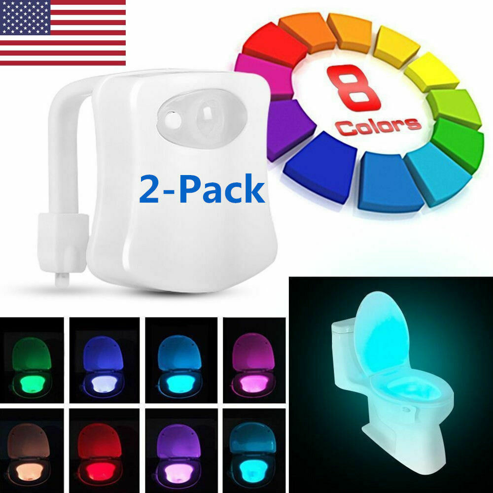 2 Pack Toilet Night Light 8 Color LED Motion Activated Sensor Bathroom Bowl Seat Home & Garden