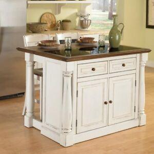 Home Styles Monarch 3 Piece Granite Top Kitchen Island U0026 Stool Set, White,  With