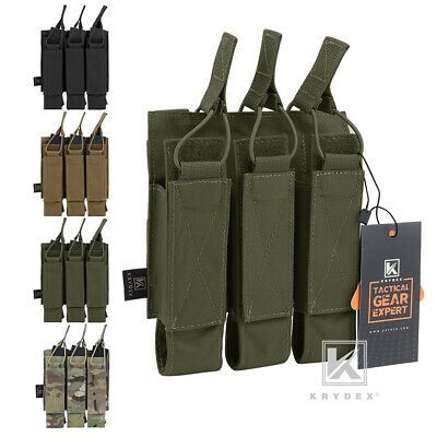 KRYDEX Tactical Triple Open Top Magazine Pouches Mag Carrier MOLLE Webbing Open Magazine Pouch