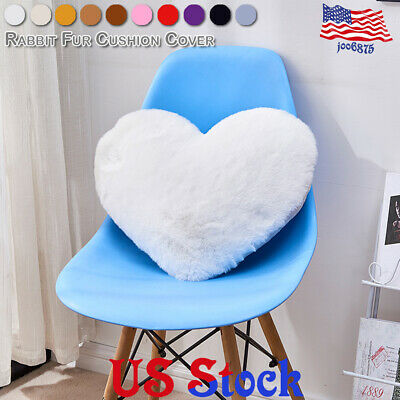 Soft Cushion Cover Heart Shaped Bed Pillowcase Pillow Fur Living Room Home -