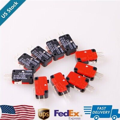 10pcs  Micro Limit Switch Button SPDT Momentary V-15-1C25 15A 125/250VAC US