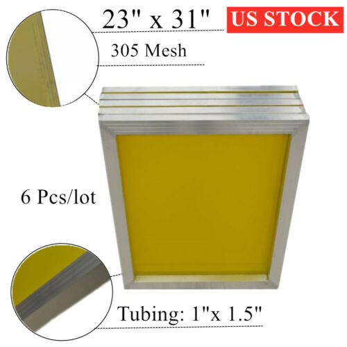 "US STOCK 6 PACK 23"" x 31"" 305 Mesh Professional Aluminum Screen Printing Frame"