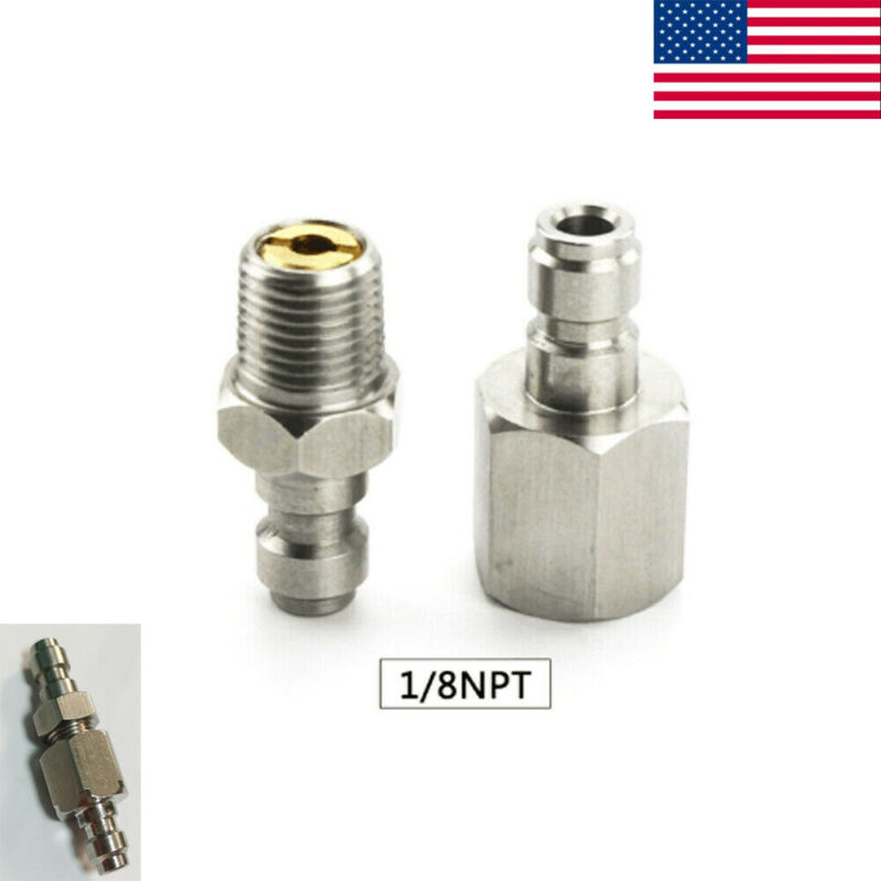 1/8NPT 8mm Stainless Steel Paintball One Way Valve Foster Fill Nipple Adapter US