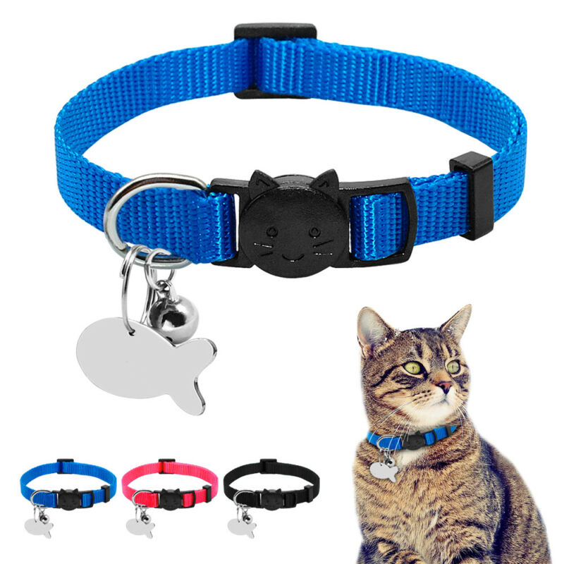 12PCS Breakaway Pet Cat Safety Collar with Bell Reflective Kitten Dog Collar Lot