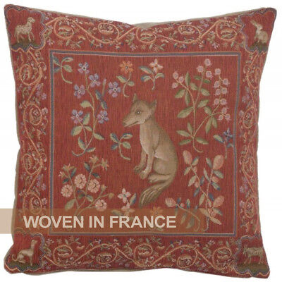 French Tapestry Throw Pillow Cover Fox Medieval Red Jacquard Woven Floral 19x19 ()