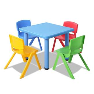 5 pcs kids table and chairs playset blue
