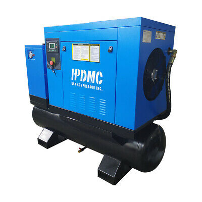 10 Hp 3ph 230v Asme 80 Gal. Rotary Screw Air Compressor With Refrigerated Dryer