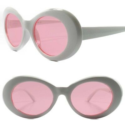 Classic Retro 80s 90s Fashion Urban Mens Womens Pink Lens White Oval Sunglasses
