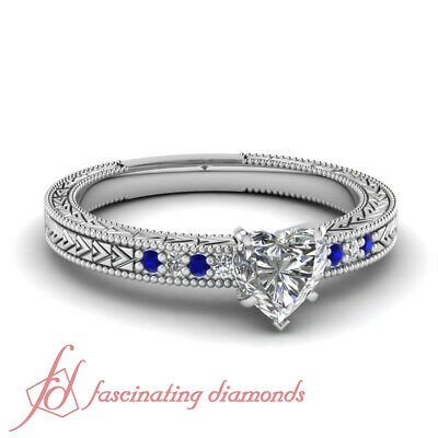 1.15 Ct Sapphire And Heart Shape Diamond Rings Antique Inspired Pave Set GIA
