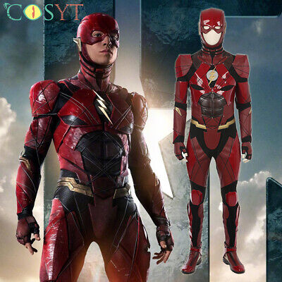 Cheap Cosplay Outfits (The Flash SuperHero Costume Barry Allen Cosplay Costume Halloween)