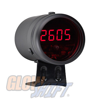 Black Digital Tachometer & Red LED Shift Light - GS-DTBR