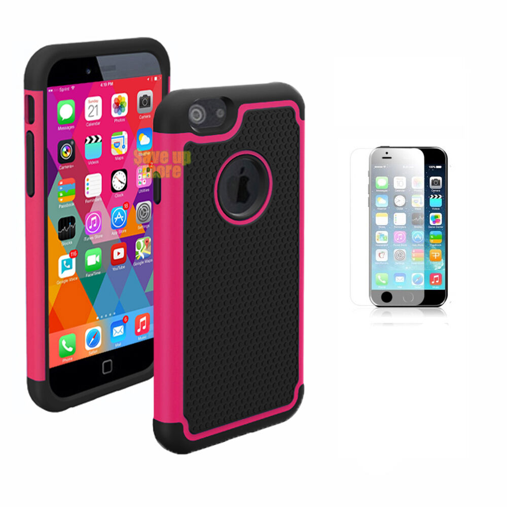 For iPhone 4S 5S 6S Plus Case Film + Hybrid Rubber Matte Shockproof Hard Cover