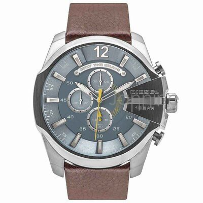 Diesel Authentic Watch DZ4281 Mega Chief Blue Dial Chrono Brown Leather Strap