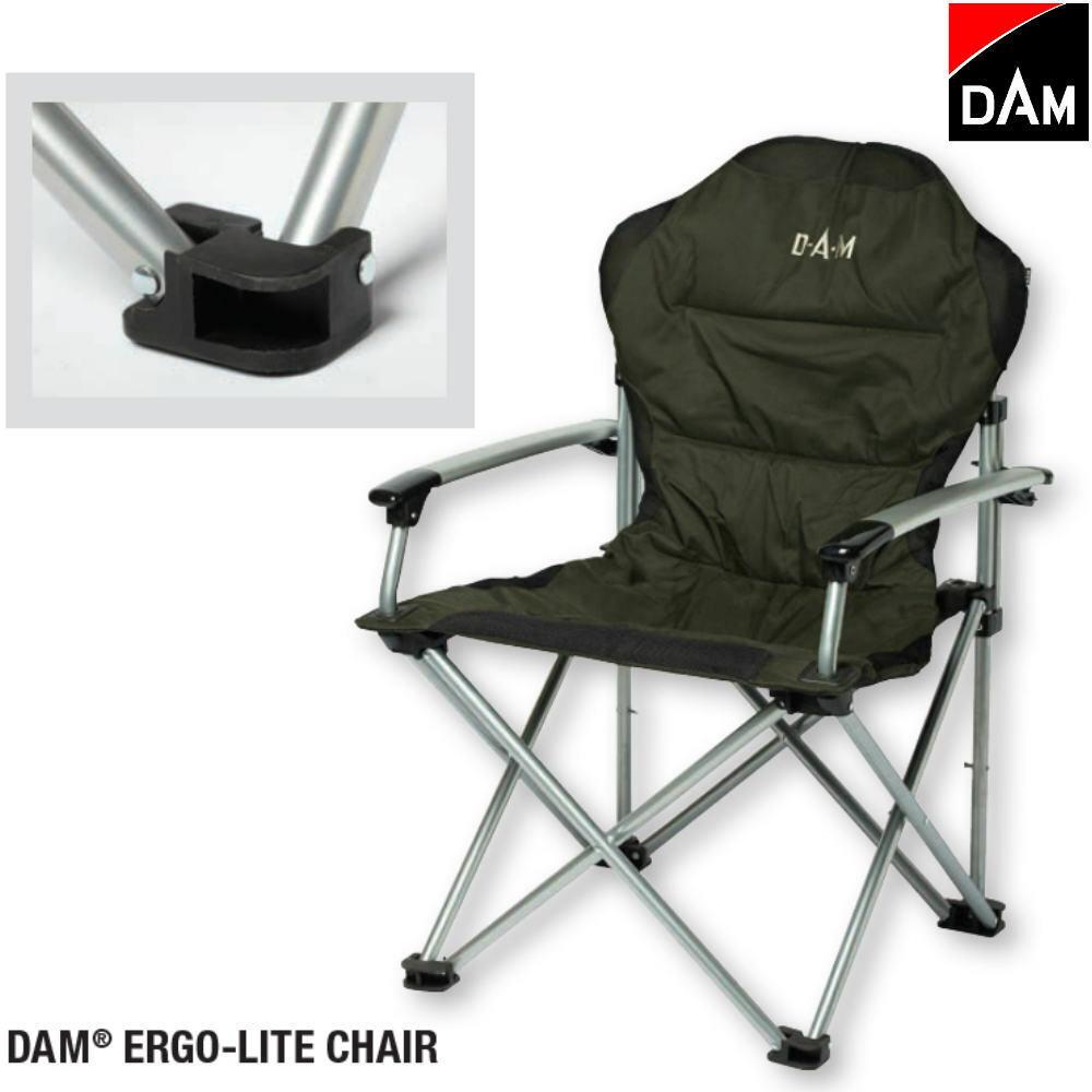 DAM Klappstuhl Ergo-Lite Stahl Anglerstuhl Chair Campingstuhl Karpfenstuhl