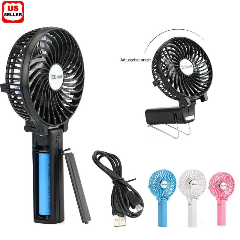 iEGrow Portable USB Mini Battery Desk Fans with Umbrella Hanging and Metal Clip