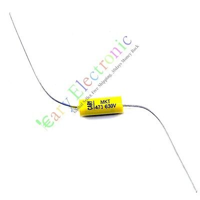 10pcs Yellow Long Lead Axial Polyester Film Capacitor 0.047uf 630v Fr Audio Amps