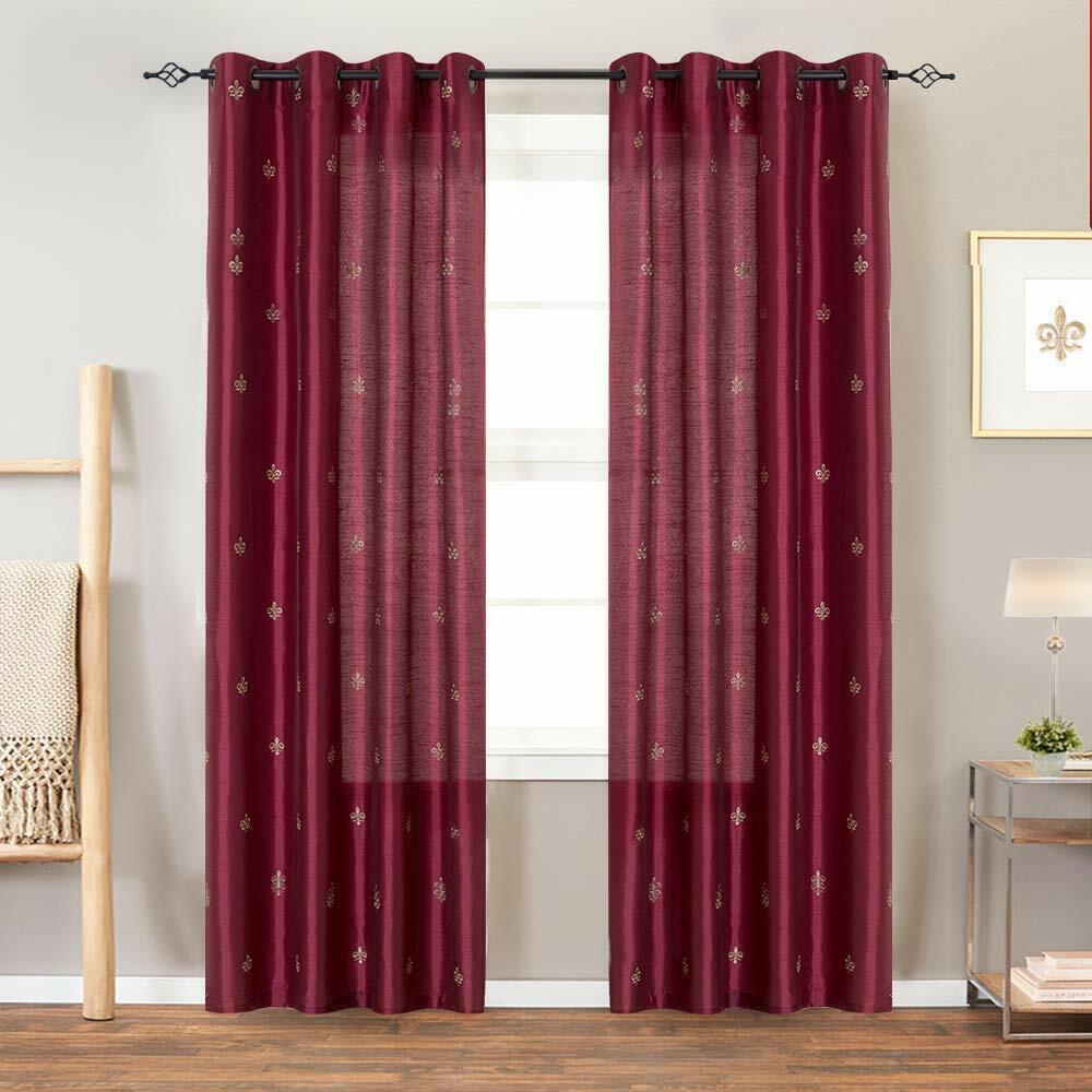 Faux Silk Flur De Lis Embroidered Grommet Top Curtains for B