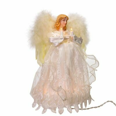 "Ivory Angel Light Up Christmas Tree Topper Decoration 12"" Tall UL1085 NEW"