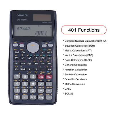 Portable Office Scientific Calculator Solar Battery Powered 401 Functions O3N9