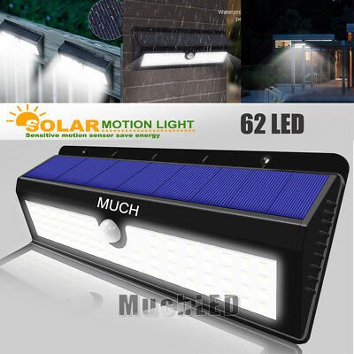 Solar Power Sensor Wall Light 62 LED Ultra Bright Wireless Security Outdoor Lamp