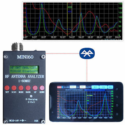 2018 Mini60 Sark100 HF ANT SWR Antenna Analyzer Meter Bluetooth Android APP Win7
