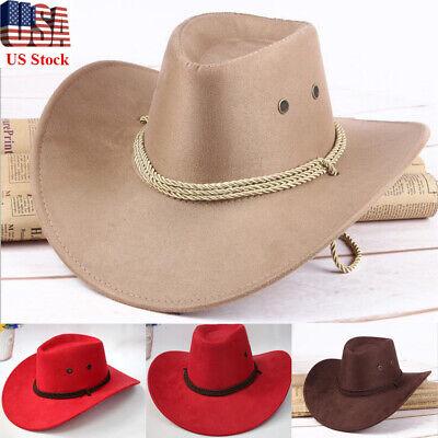 Retro Western Cowboy Hat Panama Women Men Wide Brim Cowgirl Braid Leather Cap US (Cowgirl Hat)
