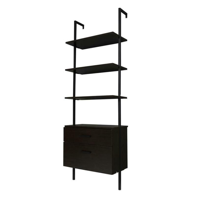 3 Tier Wall Mounted Bookcase Open Bookshelf Wood Storage Rack with Metal Frame
