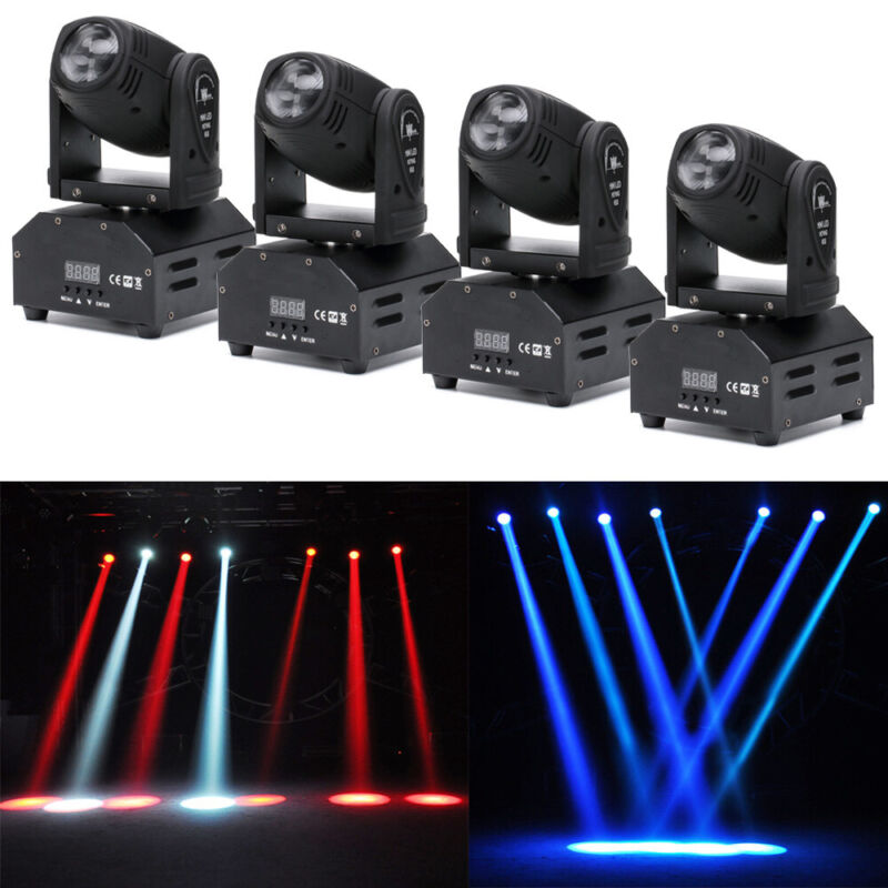 4Pcs RGBW Moving Head Stage Lighting LED Strobe Beam DMX512 Party Show Light 60W