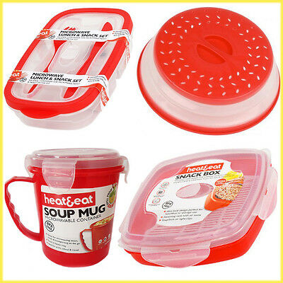 Microwave Lunch Box Food Storage Colander Steamer Soup Mug Reusable BPA -