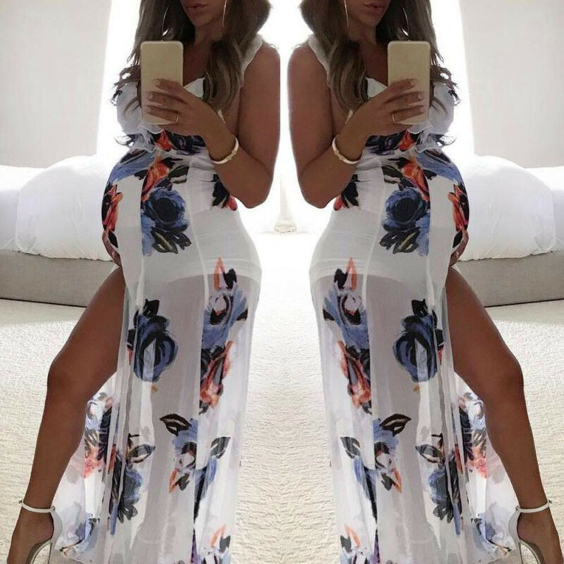 Women Mom Maternity Party Beach Split Floral Sleeveless Dres