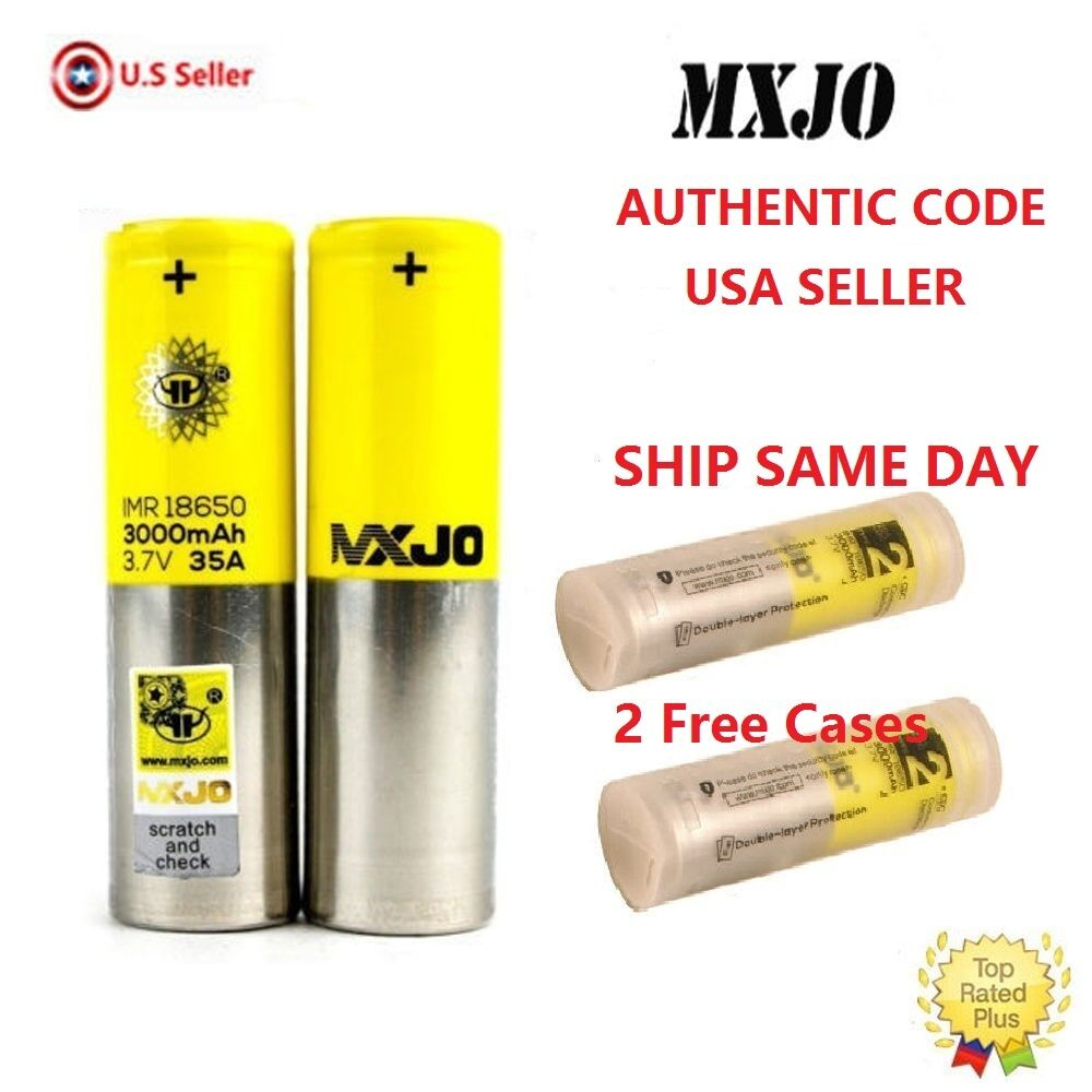 Изображение товара 2 PCS MXJO IMR 18650 3000MAH 35A 3.7V Flat Top High Drain Rechargeable Battery