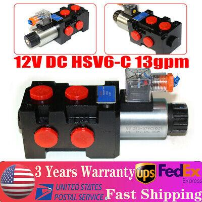 12v Hydraulic Solenoid Operated Selector Diverter Valve 12 Volt Dc Hsv6-c 13gpm