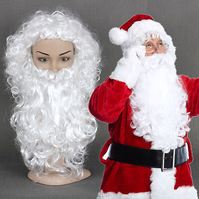 Santa Claus Wig And Beard Set (Christmas Wig and Beard Set Deluxe White Santa Claus Fancy Dress Cosplay)