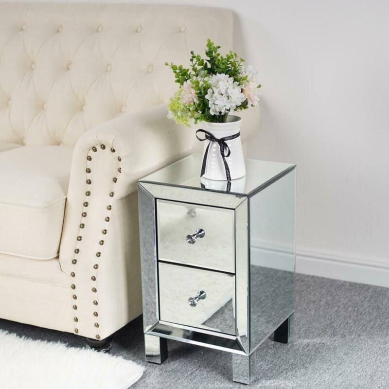 Mirrored End Side Table Nightstand Bedroom Bedside w/2 Drawer Organizer Furnitur