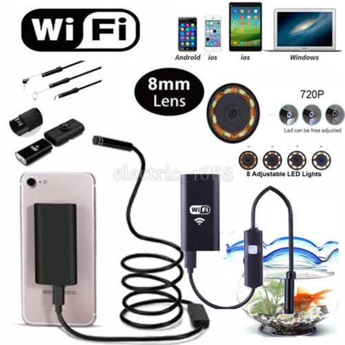 8 LED Wireless Waterproof Endoscope Inspection Camera For iO