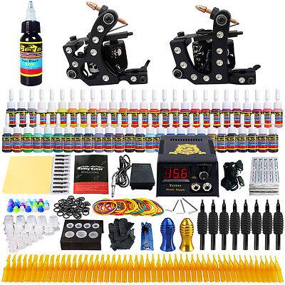 - Solong Tattoo Kit 2 Machine Guns Complete Set Power Box 54Color Ink Needle TK256