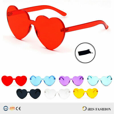 2019 NEW Oversized Candy Color Heart Shaped Sunglasses Womens Clear Lens (Sunglasses Candy Color)