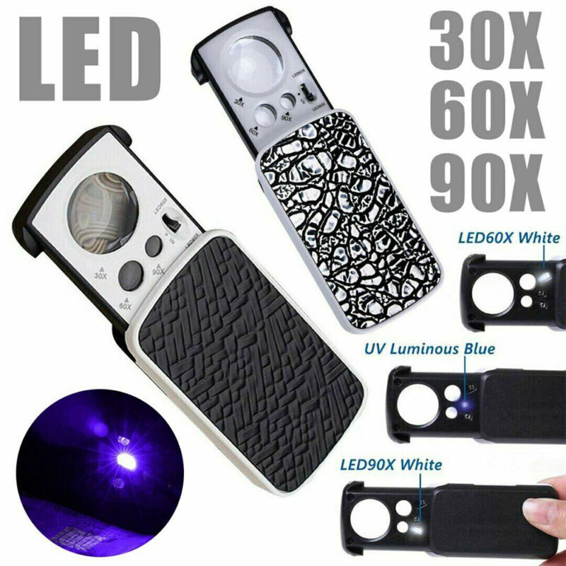 30X 60X 90X Pockets Magnifying Magnifier Jeweler Eye Glass Loupe Loop LED Light