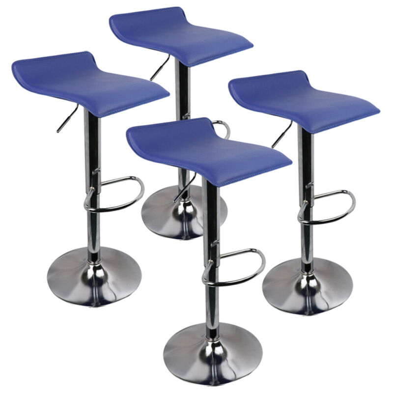 Set of 4 Height Adjustable Pu Leather Swivel Bar Stools Kitchen Dining Chairs