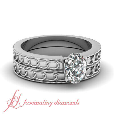 Chain Pattern Wedding Rings Set 1/2 Carat Oval Shaped VS1 Diamond GIA Certified