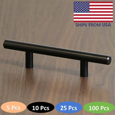 3/4 Center Cabinet Pull (Cabinet Pull Matte Black Hardware Euro Style Bar Handle 3