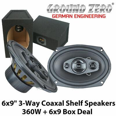 """Ground Zero GZIF 69X - 6x9"""" 3-Way Coaxal Shelf Speakers 360W + 6x9 Box Deal BNIB"""