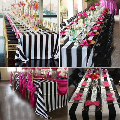 Black White Striped Wave Tablecloth Rectangle Wedding Table Cover Cloth Home - Black And White Tablecloth