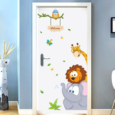 Jungle Classroom Decorations (Jungle Animals Door Wall Stickers Children Bedroom Nursery Room Classroom)