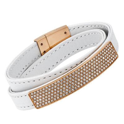 Swarovski White Leather - Swarovski Vio 5134617 White Leather Gold Plated Plaque Pave Wrap Bracelet - M