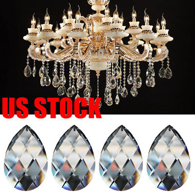 US 100Pcs Clear Crystal Prisms Drop Glass Chandelier Lamp Part Hanging Pendant