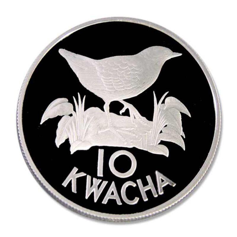 Zambia White Winged Flufftail 1986 10 Kwacha Proof Silver Crown